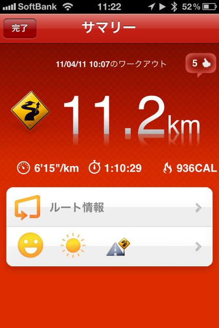 ランニング日誌(11/04/11)つぐない11kmラン!