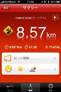 ランニング日誌(11/04/14)気温が上がり汗だく8.6kmラン!