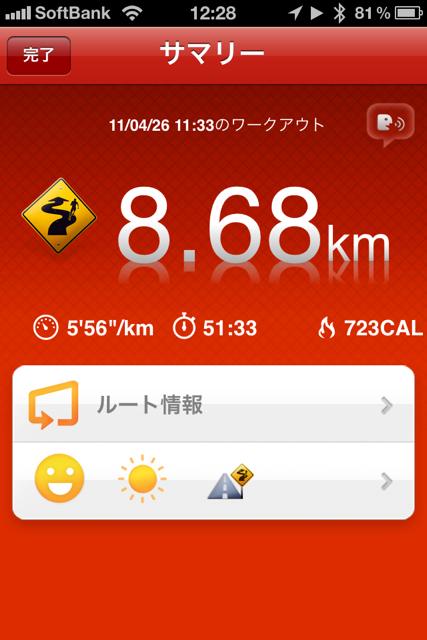 ランニング日誌(11/04/26)真昼の8.6kmラン!