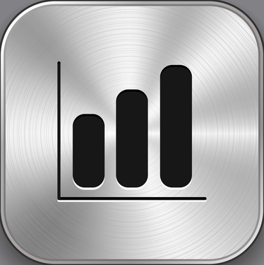Diagram icon - vector metal app button