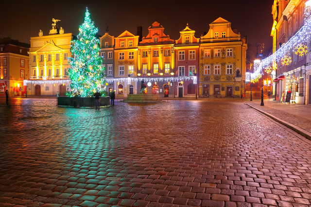 night lights of the city on Christmas night in Poznan. Central square